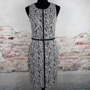 Ann Taylor 6 Black White Zebra Print Knit Dress